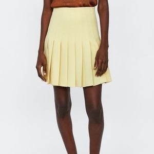 Zara Yellow Pleated Box Skirt Size XS